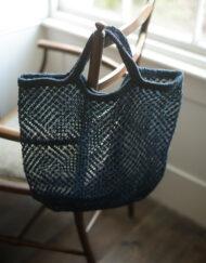 macrame jute hand dyed indigo bag