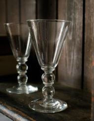 Tall hand blown lead crystal Georgian style stem glass