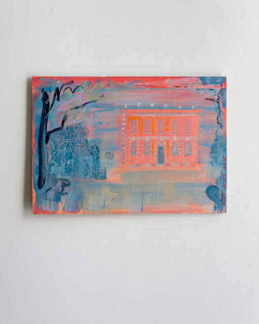 oil painting, pink house, belmont house, lyme regis, oil ainting, nick ivins, art collector, interior decor, architectural painting,