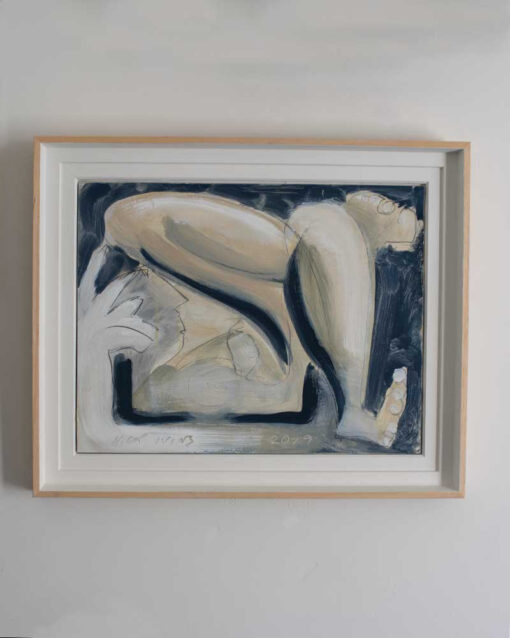 Oil painting, Reclining nude, artist Nick Ivins