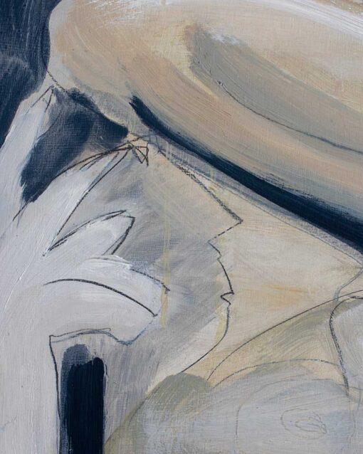 Oil painting, Reclining nude, artist Nick Ivins